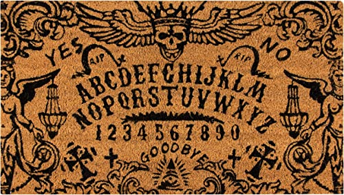 Ouija Board Welcome Mat for Front Door, Natural Coir Doormat 30 x 17 in