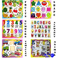 Wish key Wooden Educational Colorful Fruits, Numbers, Geometric Shapes, Animals,Vehicles, Alphabet - Set of 6 Puzzle Board