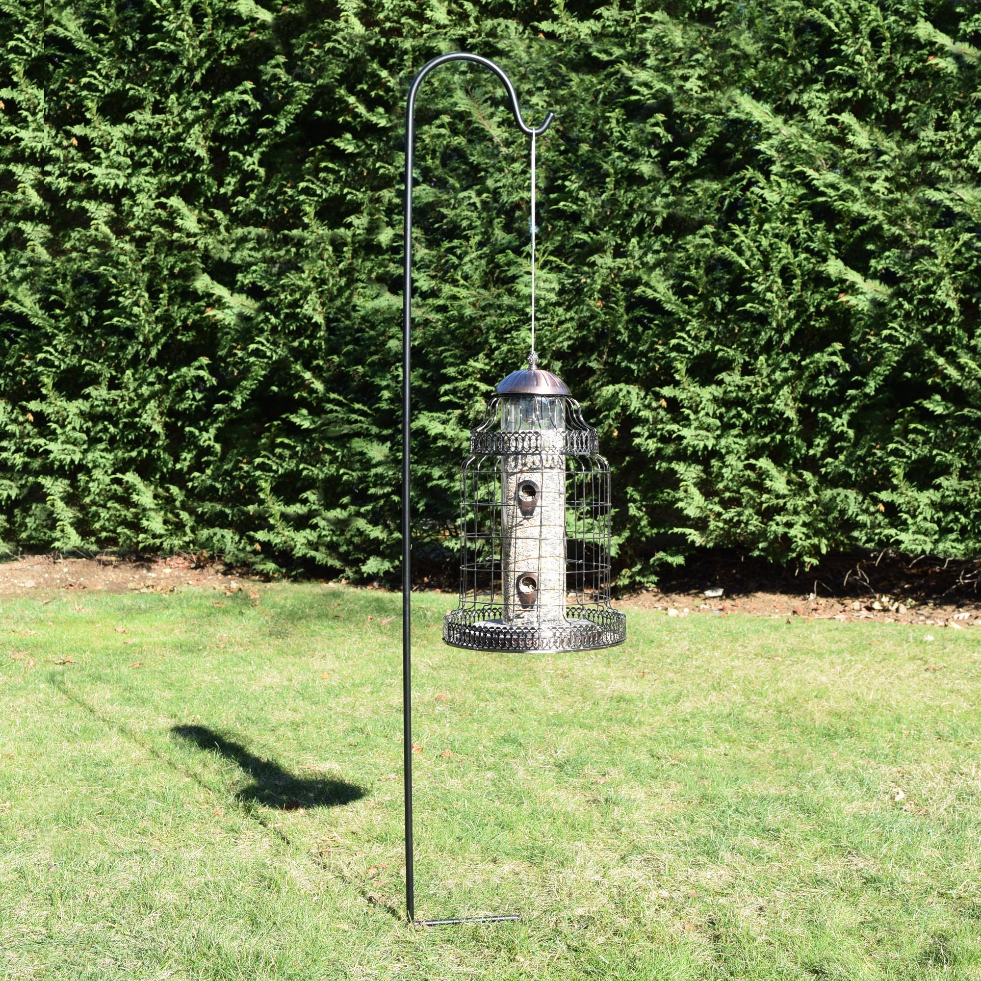 Gray Bunny Shepherd Hook, 65 inch Black 1/2 Inch Thick, Set of 4, Solid (Non-Hollow) Heavy Duty Rust Resistant Premium Metal Hook Hangers for Weddings, Plant Baskets Solar Lights Lantern Bird Feeders