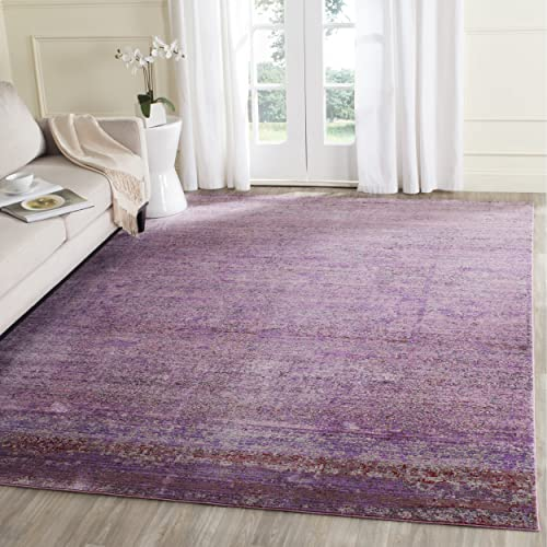 Safavieh Valencia Collection VAL203N Lavender and Multi Distressed Watercolor Silky Polyester Area Rug 9 x 12