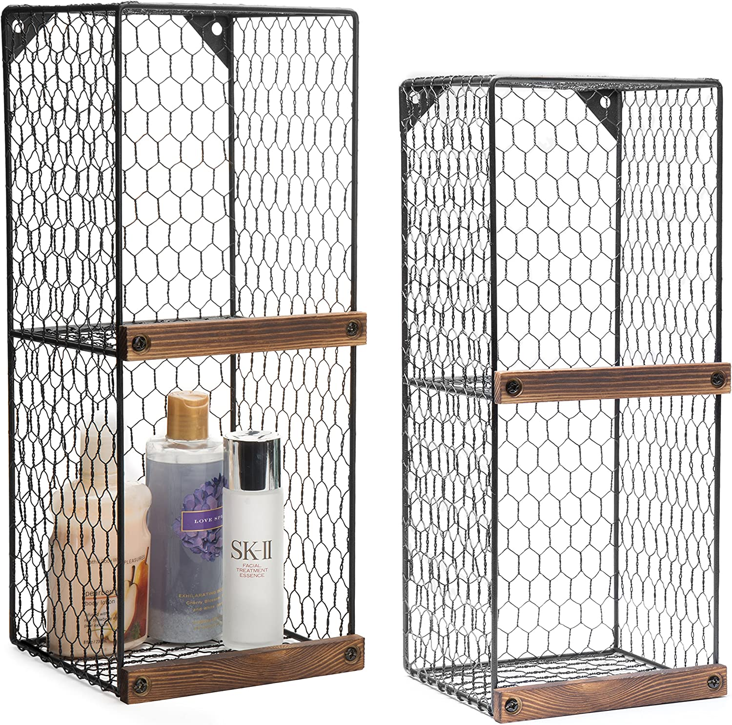 MyGift Set of 2 Wall-Mountable 2-Tier Chicken Wire Storage Shelves with Wood Ledges, Farmhouse Basket Bins