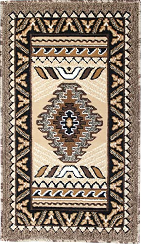 Rugs 4 Less Collection Southwest Native American Indian Door Mat Area Rug Design R4L 143 Beige Berber 2 x3 4