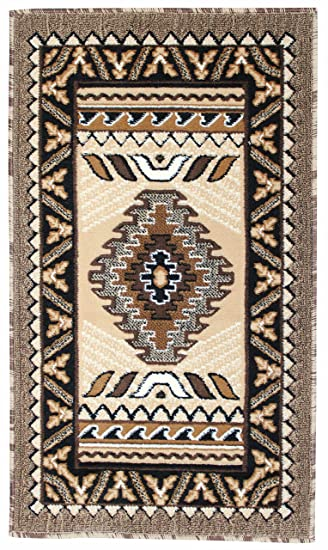 Rugs 4 Less Collection Southwest Native American Indian Door Mat Area Rug  Design R4L 143 Beige
