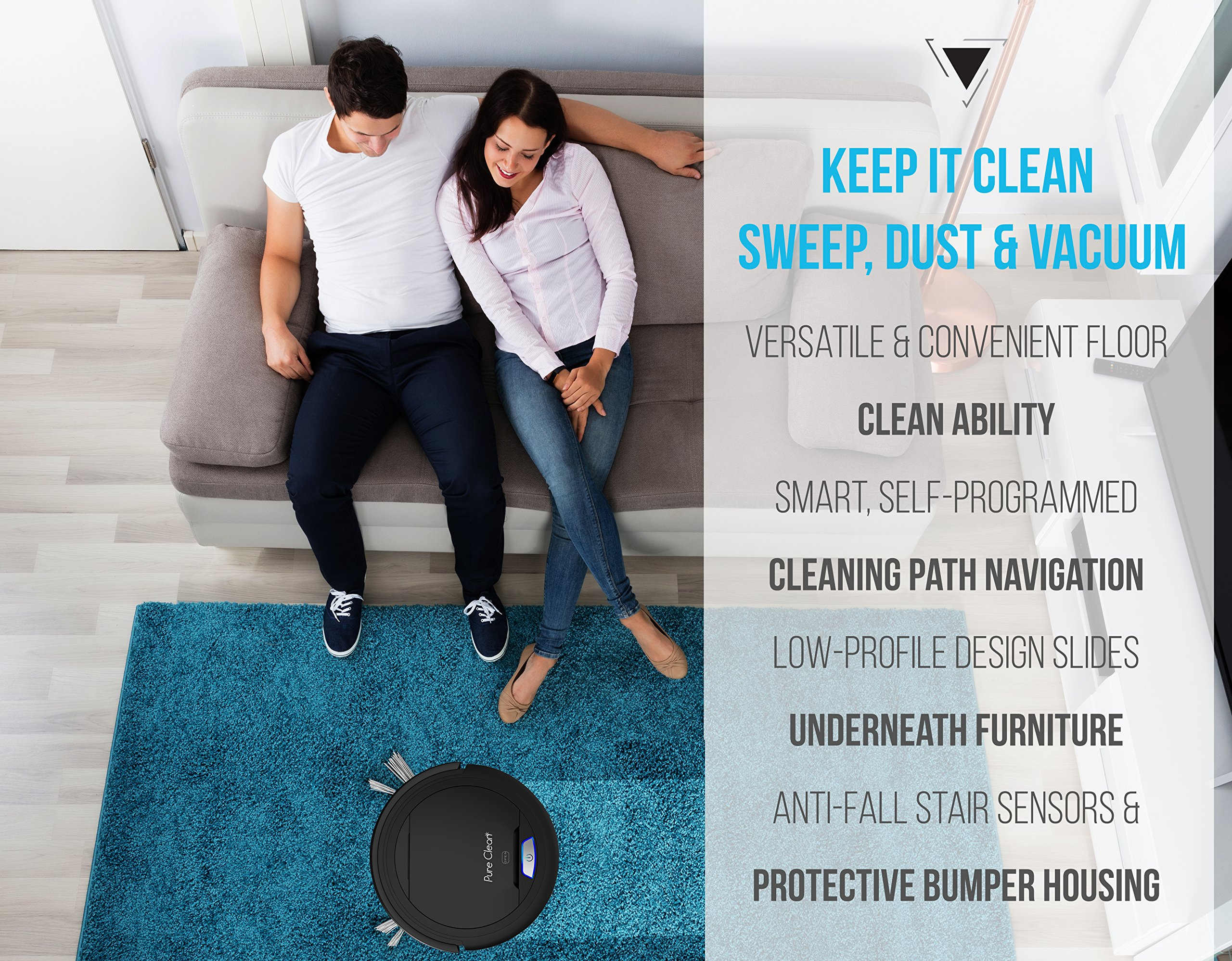 PureClean Automatic Robot Vacuum Cleaner - Robotic Auto Home Cleaning for Clean Carpet Hardwood Floor - Bot Self Detects Stairs - HEPA Filter Pet Hair Allergies Friendly - PUCRC26B (Black)
