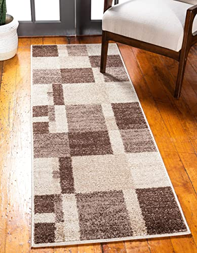 Unique Loom Autumn Collection Abstract Checkered Casual Warm Toned Light Brown Runner Rug 2 6 x 10 0