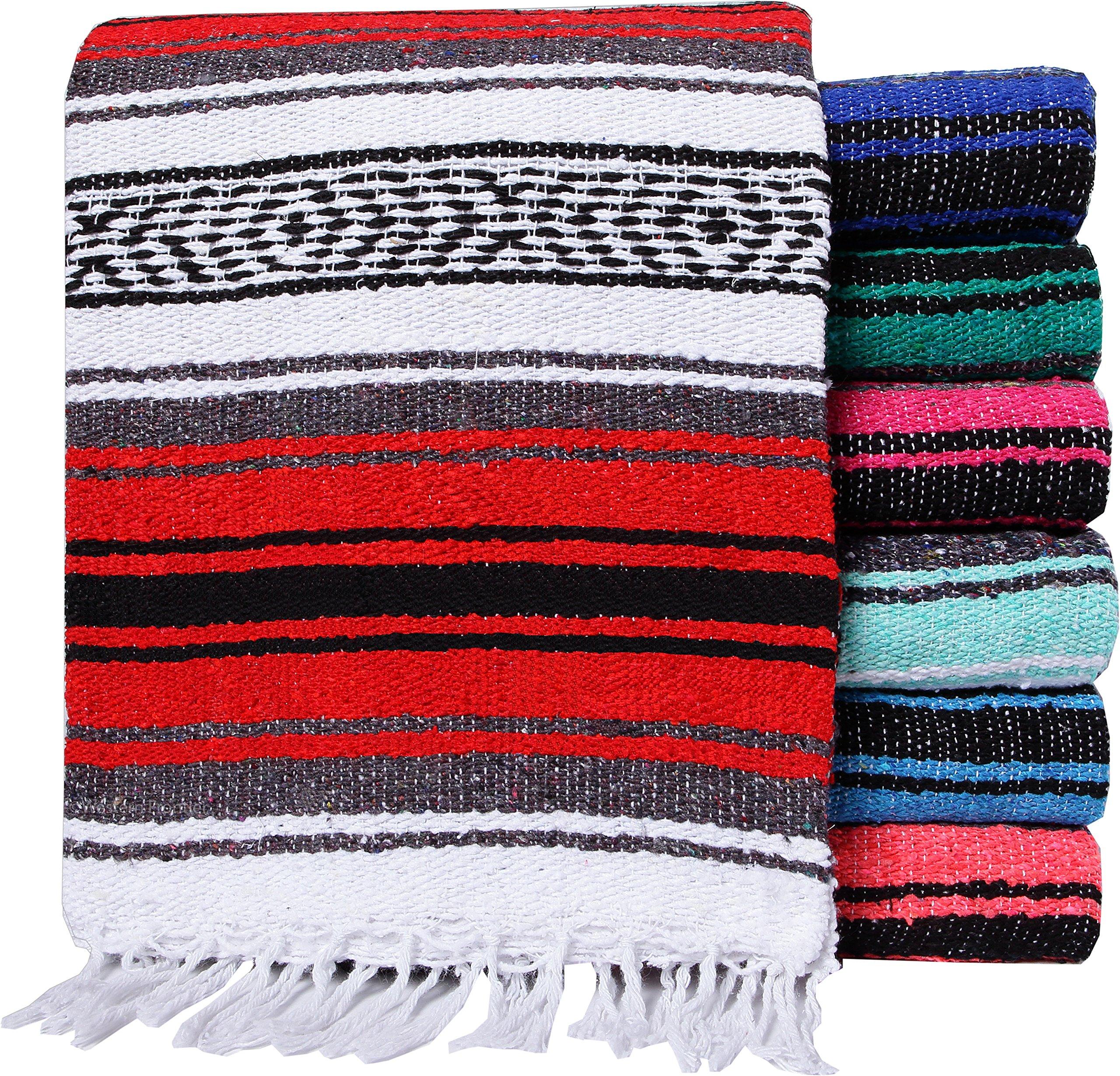 El Paso Designs Genuine Mexican Falsa Blanket - Yoga Studio Blanket, Colorful, Soft Woven Serape Imported from Mexico (Random Color)