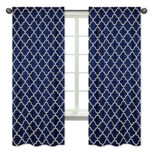 Navy Blue and White Modern Window Treatment Panels Curtain