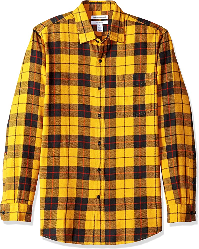 Amazon Essentials - Camisa de franela a cuadros, manga larga, ajustada, para hombre, Amarillo (Yellow Plaid), Small: Amazon.es: Ropa y accesorios