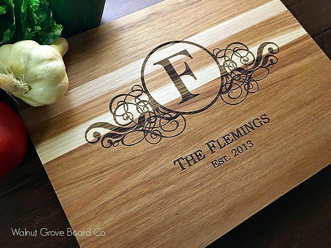 amazon com personalized monogram cutting board butcher block custom