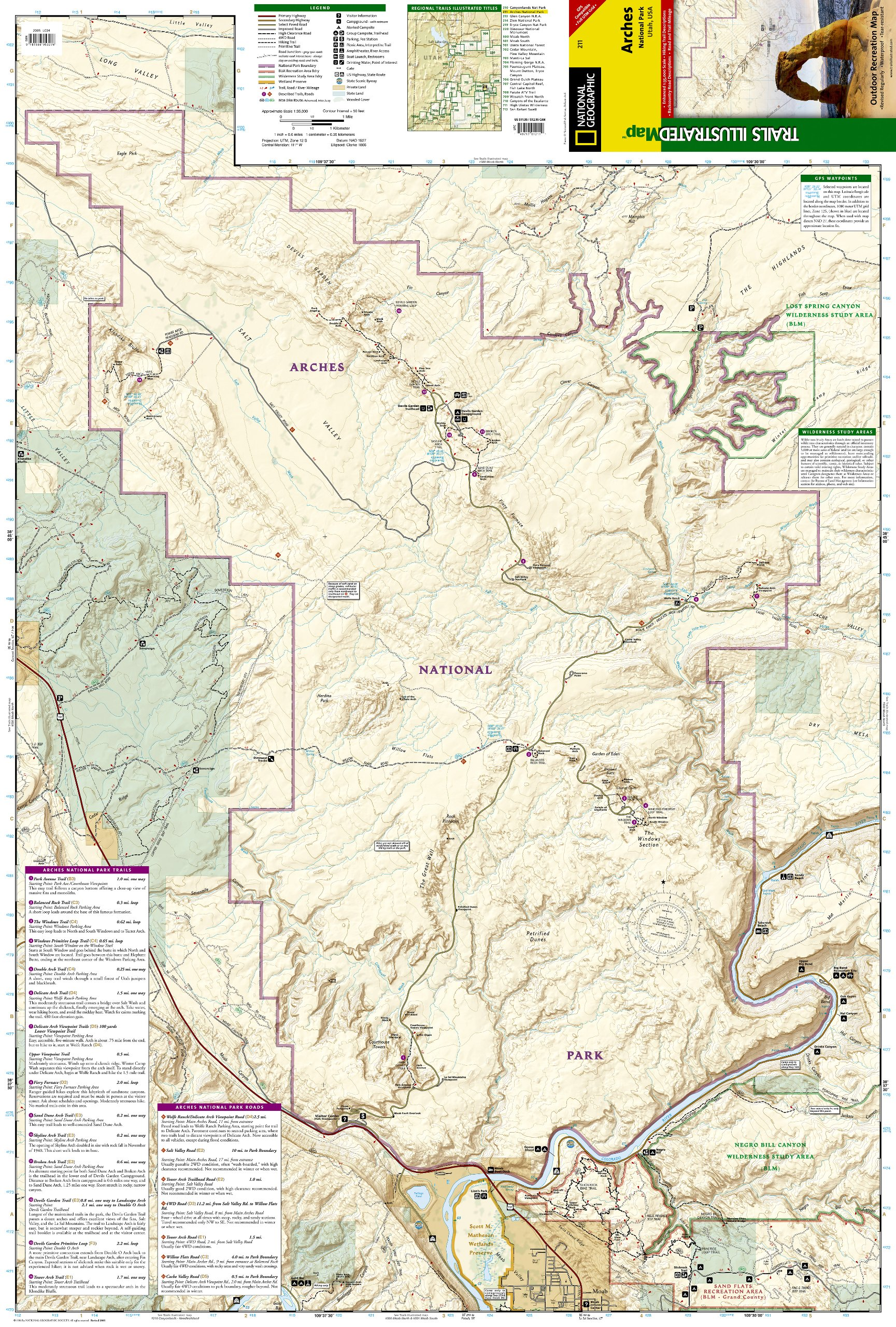 Arches National Park National Geographic Trails Illustrated Map