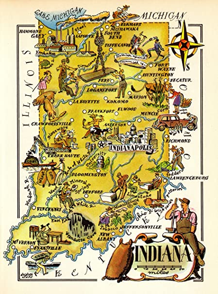 Amazon.com: 1940s Vintage Indiana State Map Animated Picture Map of on indiana quarter, muncie indiana map, indiana interstate map, marion indiana map, indiana map with cities, indiana us map, ky state map, ill state map, indiana geography, nashville indiana map, maryland map, indiana road map, california map, brownsburg indiana map, indiana nickname, indiana rivers, florida map, indiana landforms, u s state map, indiana counties,