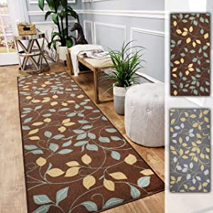 Custom Size Hallway Runner Rug - 22 in x 7 feet - Price Drops by Size - Rubber Backed Non Slip Geometric - Choose Width x Length