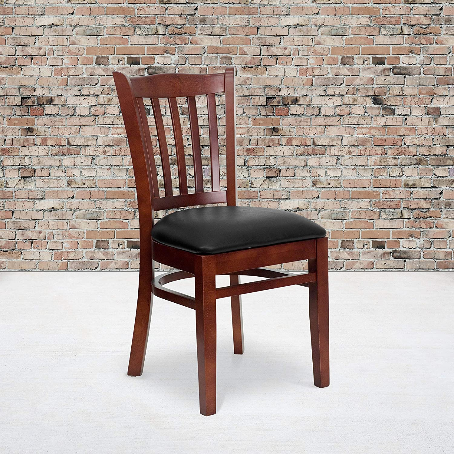 Flash Furniture HERCULES Series Vertical Slat Back Mahogany Wood Restaurant Chair - Black Vinyl Seat