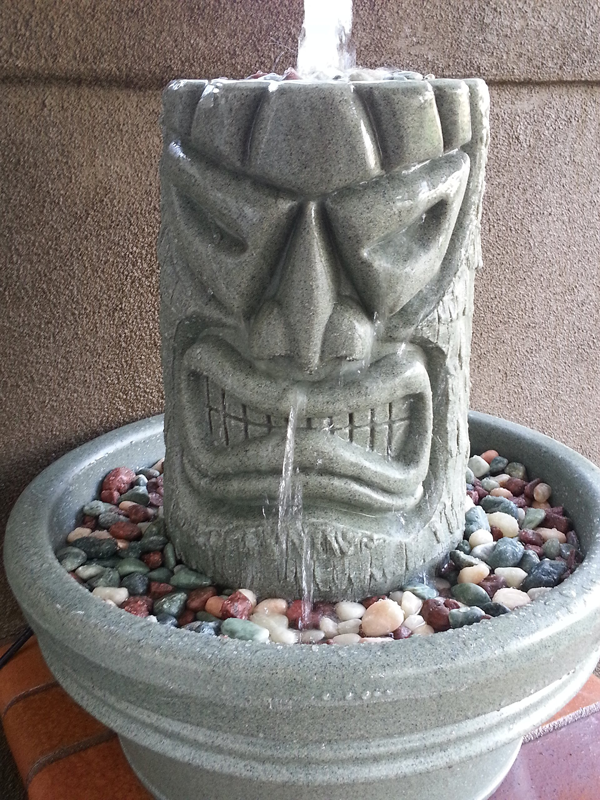 Angry Tiki Fountain (Granite Green) by The Tiki Shop