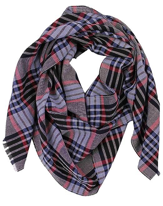Bufanda de algodón bufanda de hombre a cuadros negro azul rojo bufanda de verano: Amazon.es: Ropa y accesorios