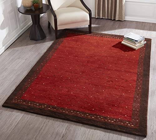 Momeni Rugs Desert Gabbeh Collection, 100 Wool Hand Knotted Contemporary Area Rug, 2 x 3 , Paprika