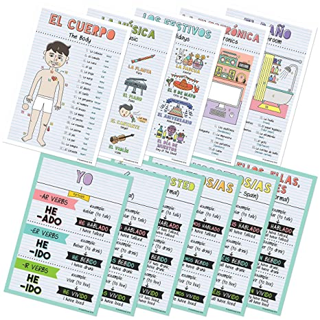 Spanish Verbs & Beginner Vocabulary Classroom Variety Posters, Set of 11, 12 x 18