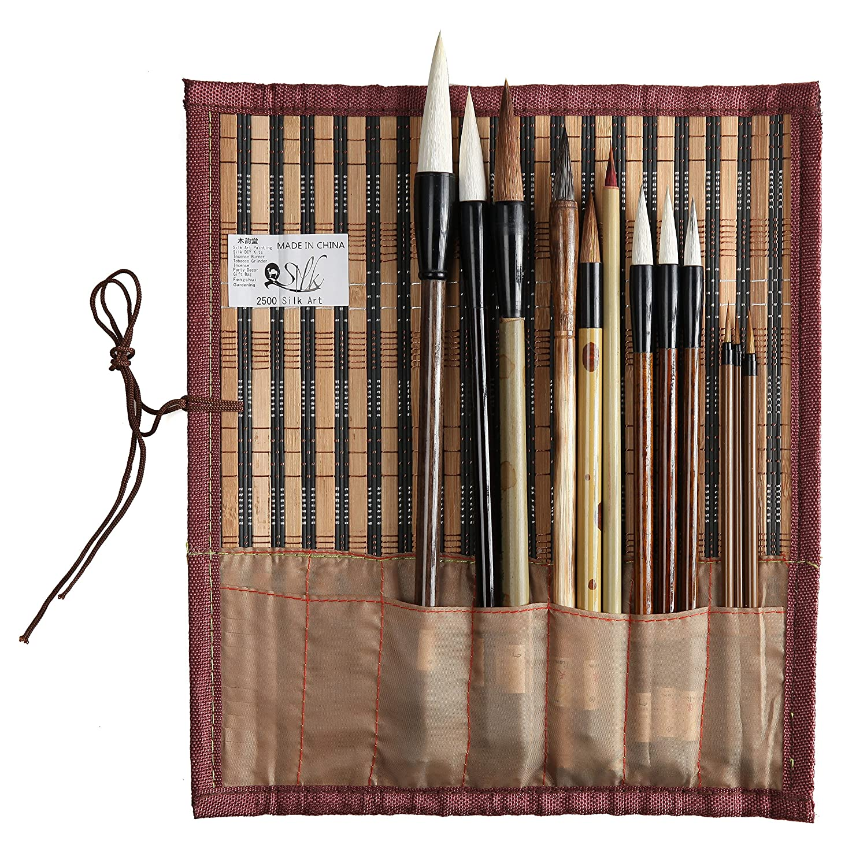 2500 Painting and Calligraphy Art Professional Chinese Art Brush Set 12 Pcs Chinese Paint Brush Kit 2500 Silk Art