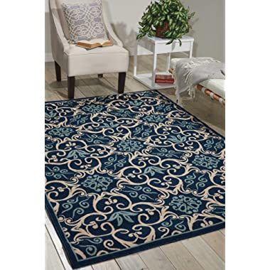 Nourison Caribbean (CRB02) Navy Rectangle Area Rug, 5-Feet 3-Inches by 7-Feet 5-Inches (5'3  x 7'5 )