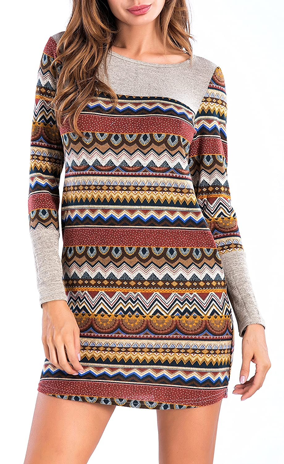 Sarin Mathews Womens Long Sleeve Pocket Dress Color Block Striped Knit Dresses
