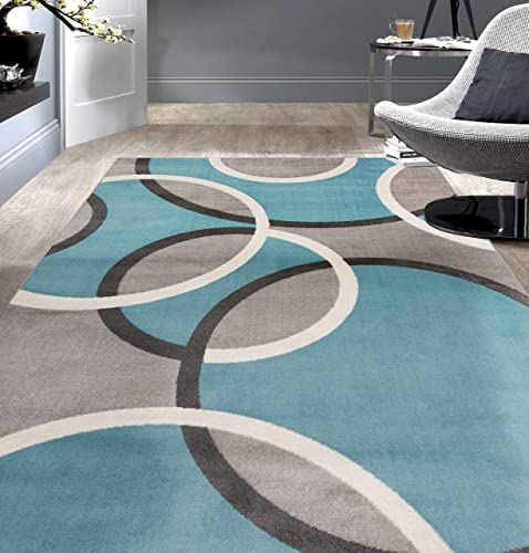 Rugshop Contemporary Abstract Circles Area Rug 5 3 x 7 3 Blue