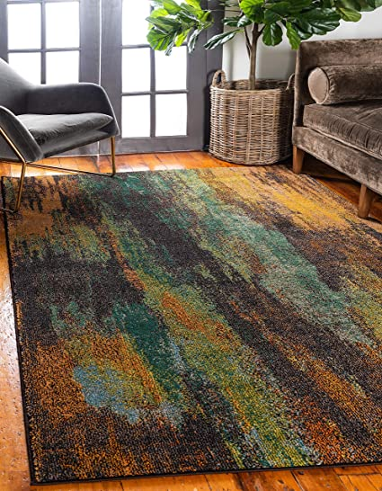Unique Loom Jardin Collection Vibrant Abstract Multi Area Rug (9 x 12)