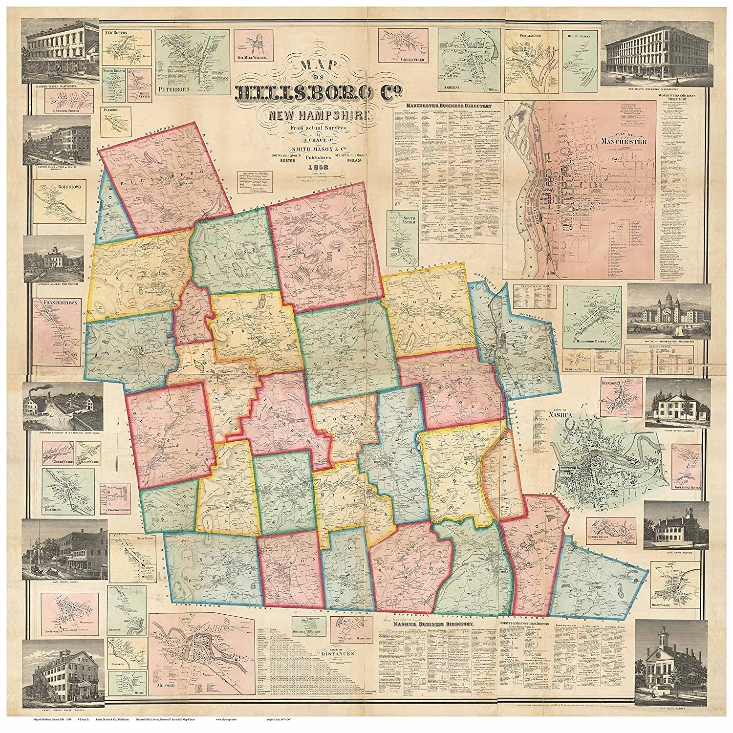 Amazon.com: Hillsboro County NH 1858 Map Wall Map with Homeowner ...