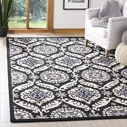 Safavieh Chelsea Collection HK356A Hand-Hooked Black and Ivory Premium Wool Area Rug 6 x 9
