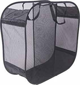 Amelitory 2 Compartment Mesh Pop-up Laundry Hamper for Home,Dorm,Travelling Storage Black