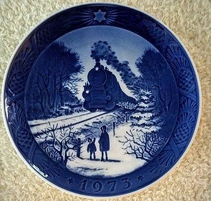 1973 royal copenhagen christmas plate train homeward bound - Royal Copenhagen Christmas Plates