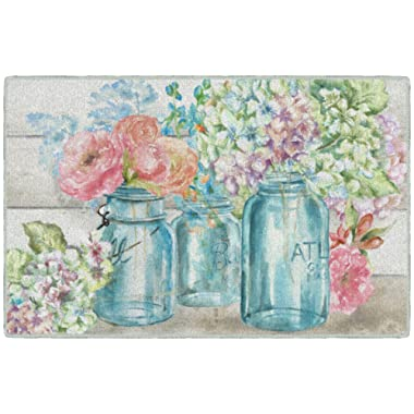 Brumlow Mills EW10336-20x34 Colorful Flowers in Mason Jar Kitchen and Entryway Floral Rug, 1'8  x 2'10