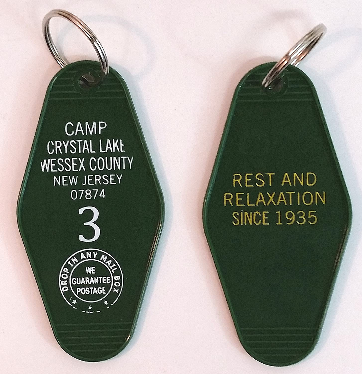 Camp Crystal Lake Wessex County New Jersey Inspired Key Tag Friday the 13th