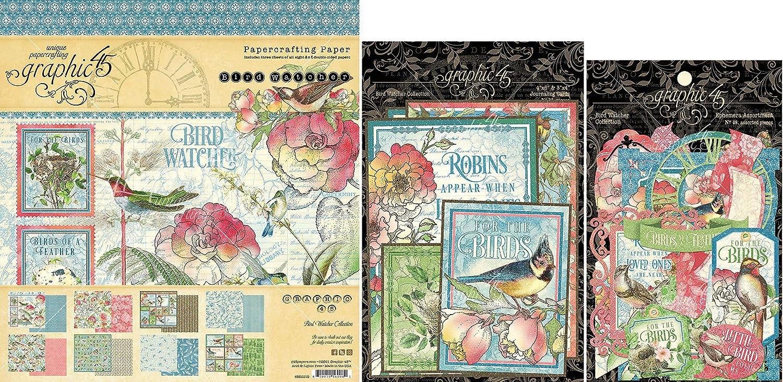 Graphic 45 Bird Watcher - 8x8 Paper Pad, Cardstock Die-cuts, Ephemera with Storage Pocket