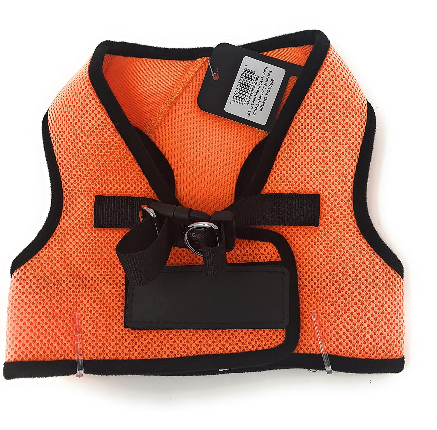 Dogline Mesh Harness Vest   Harness with Patches 17-19 in   orange