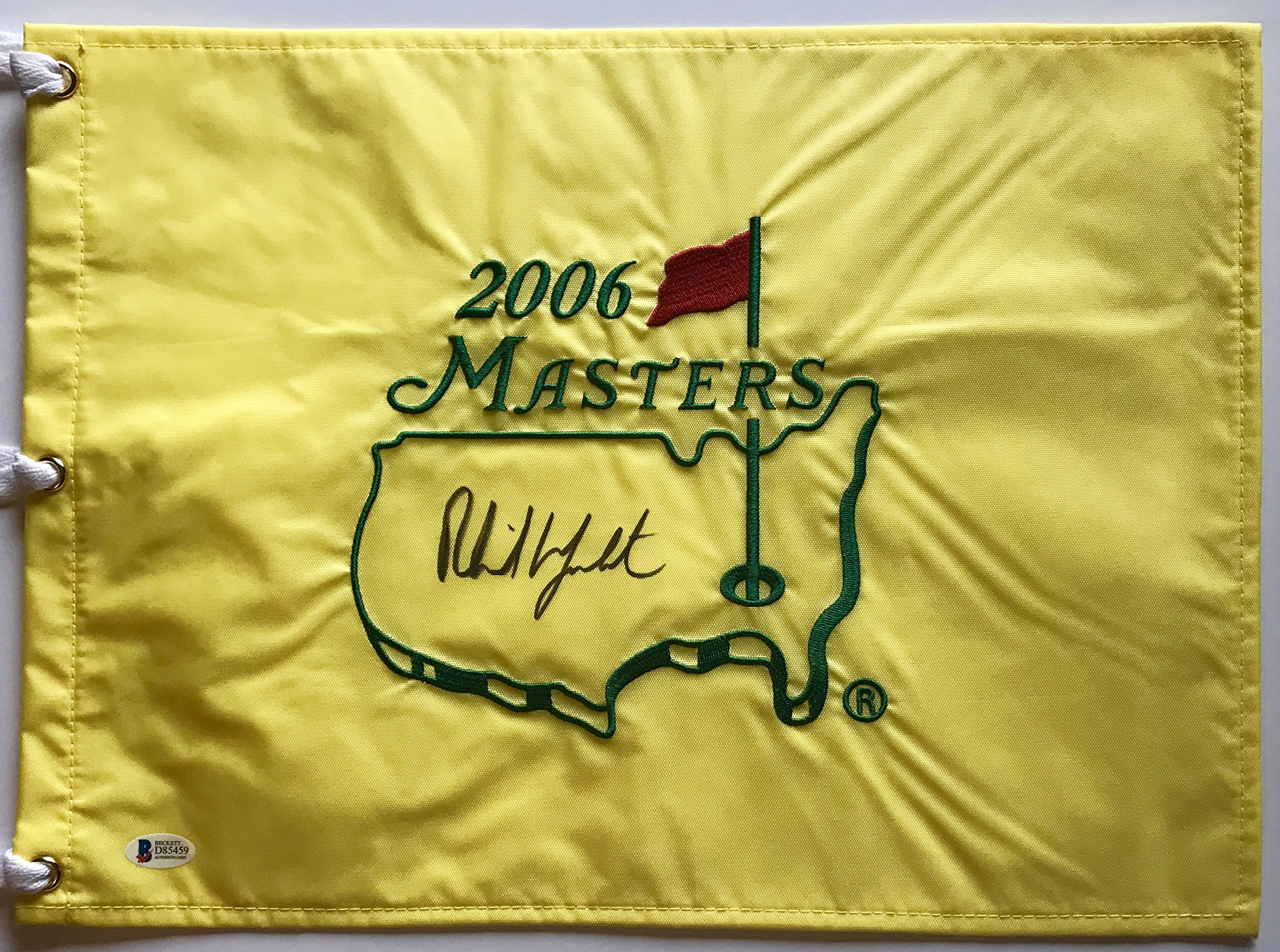 Phil Mickelson signed 2006 Masters flag augusta national golf beckett coa 2018 pga