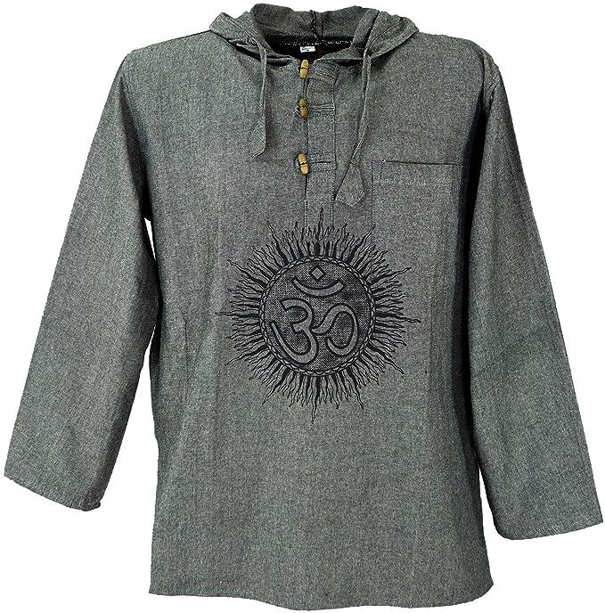 GURU-SHOP, Yoga Shirt, Goa Shirt Om, Sudadera, Algodón, Camisas de Hombre