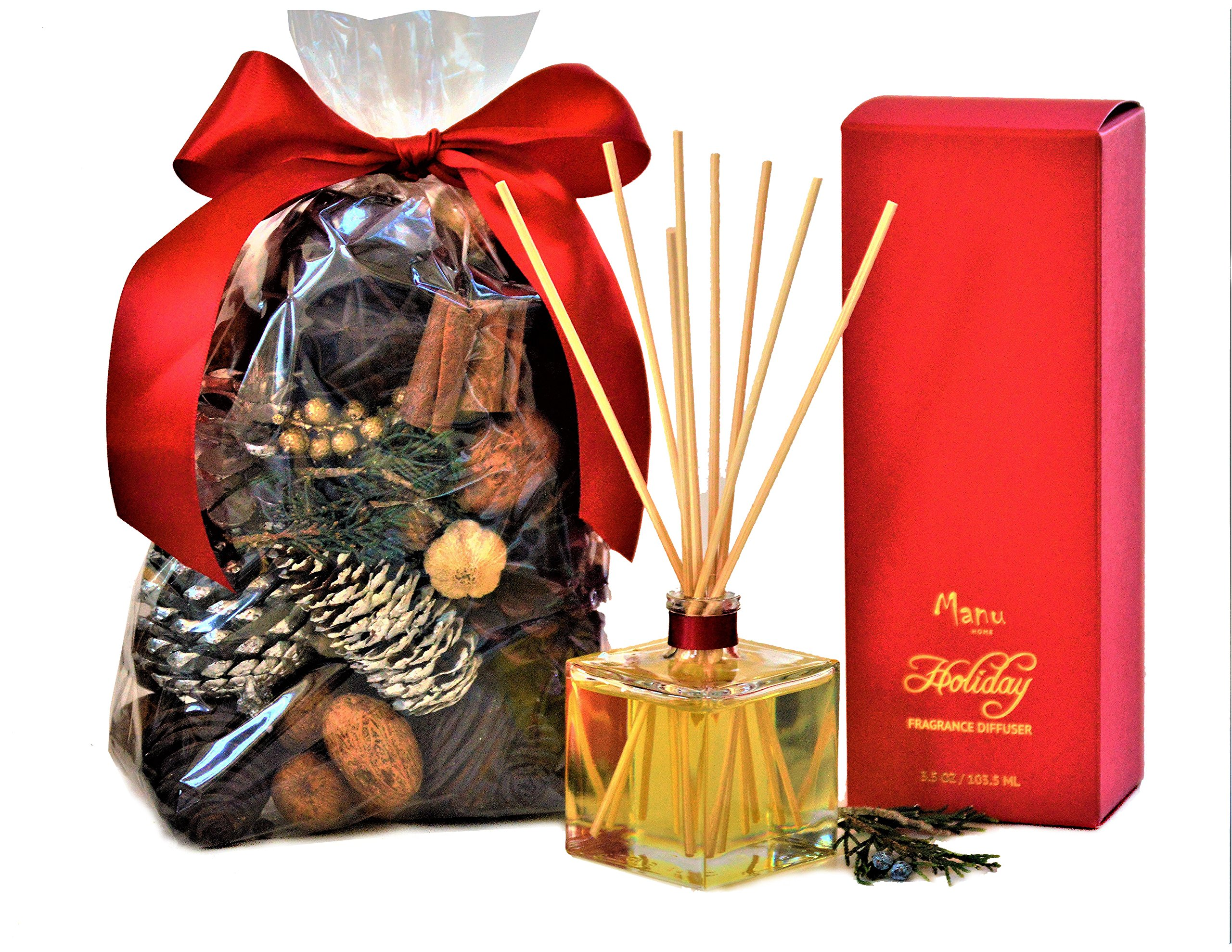 Manu Home Cinnamon & Clove Potpourri & Reed Diffuser Set~ Our Cinnamon Scent Offers a Holiday Glow with The Spicy Warmth of Real Imported Cinnamon and a hint of Clove.