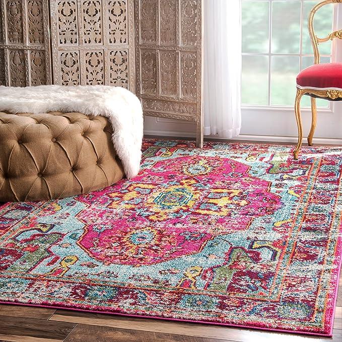 Amazon.com: Oriental Vintage Distressed Abstract Multi Area Rugs, 7 ...
