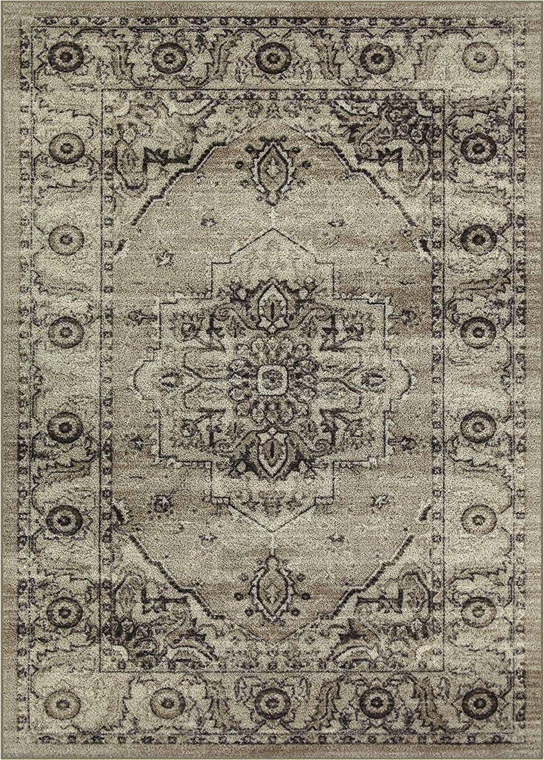 Maples Rugs Distressed Lexington Area Rugs Carpet for Living Room & Bedroom [Made in USA], 5 x 7, Neutral