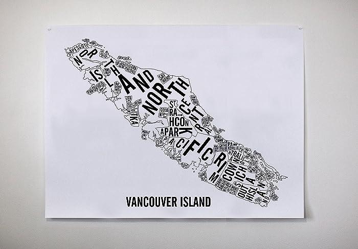 Vancouver Island Typographic Map
