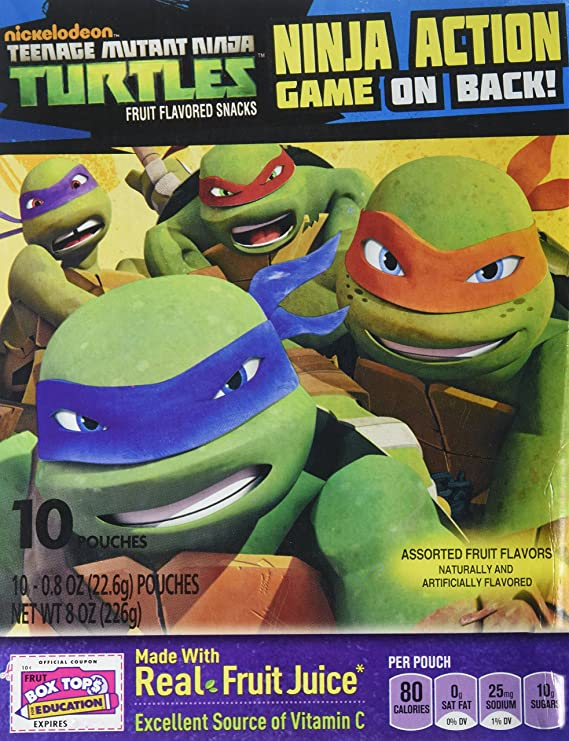 Betty Crocker Fruit Snack - Teenage Mutant NINJA TURTLES - (10) 0.8oz Pouches, 4 BOXES