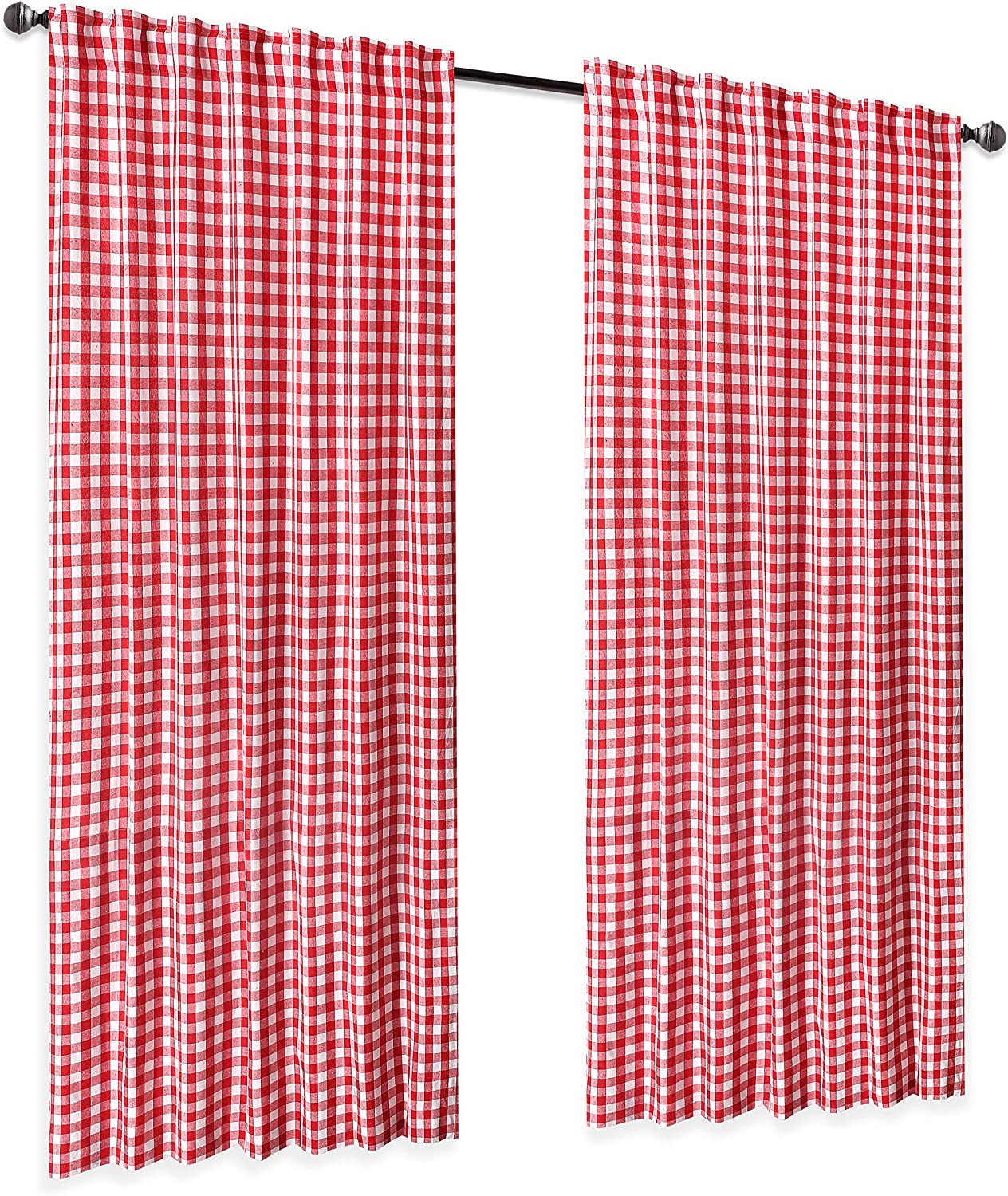 Ramanta Home Gingham Check Window Curtain Panel, 100% Cotton, Red/White, Cotton Curtains, 2 Panels Curtain, Tab Top Curtains, 50x96 Inches, Set of 2