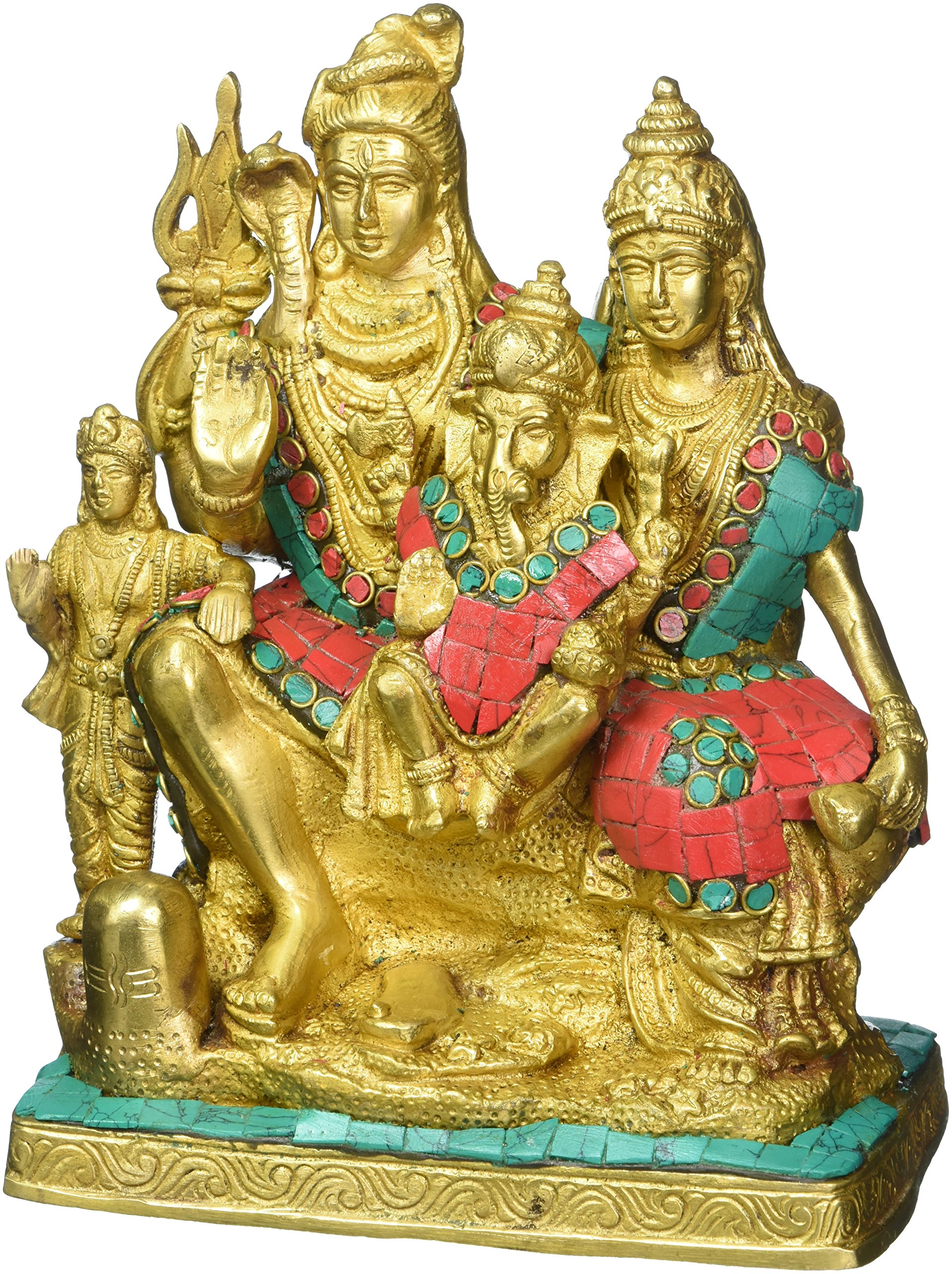 Aone India Hindu God Shiva Family Statue Shiva Parvati Ganesh Sculpture Brass Lord God Deity Figurine + Cash Envelope (Pack Of 10)