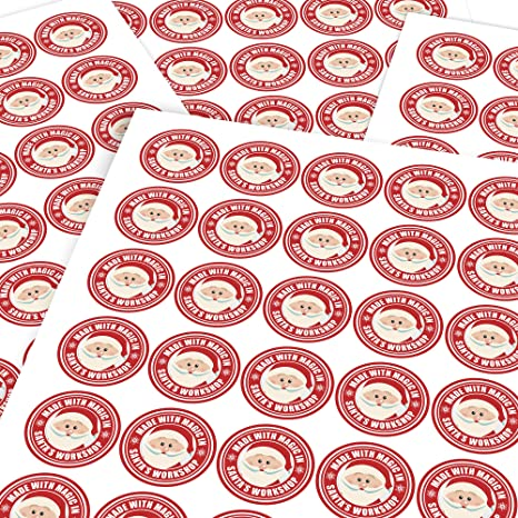 15 x From Santa Stickers Christmas Toy Factory Gift Tag Kids #6602 A4 Sheet