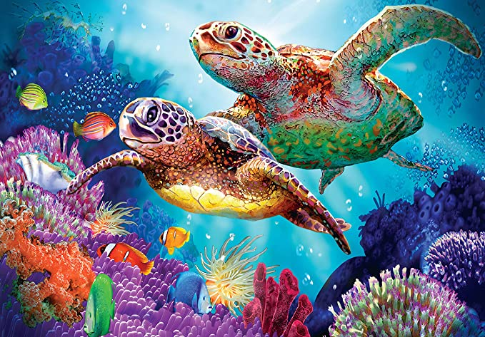 Green Turtle Hatchlings 550pc Jigsaw Puzzle by