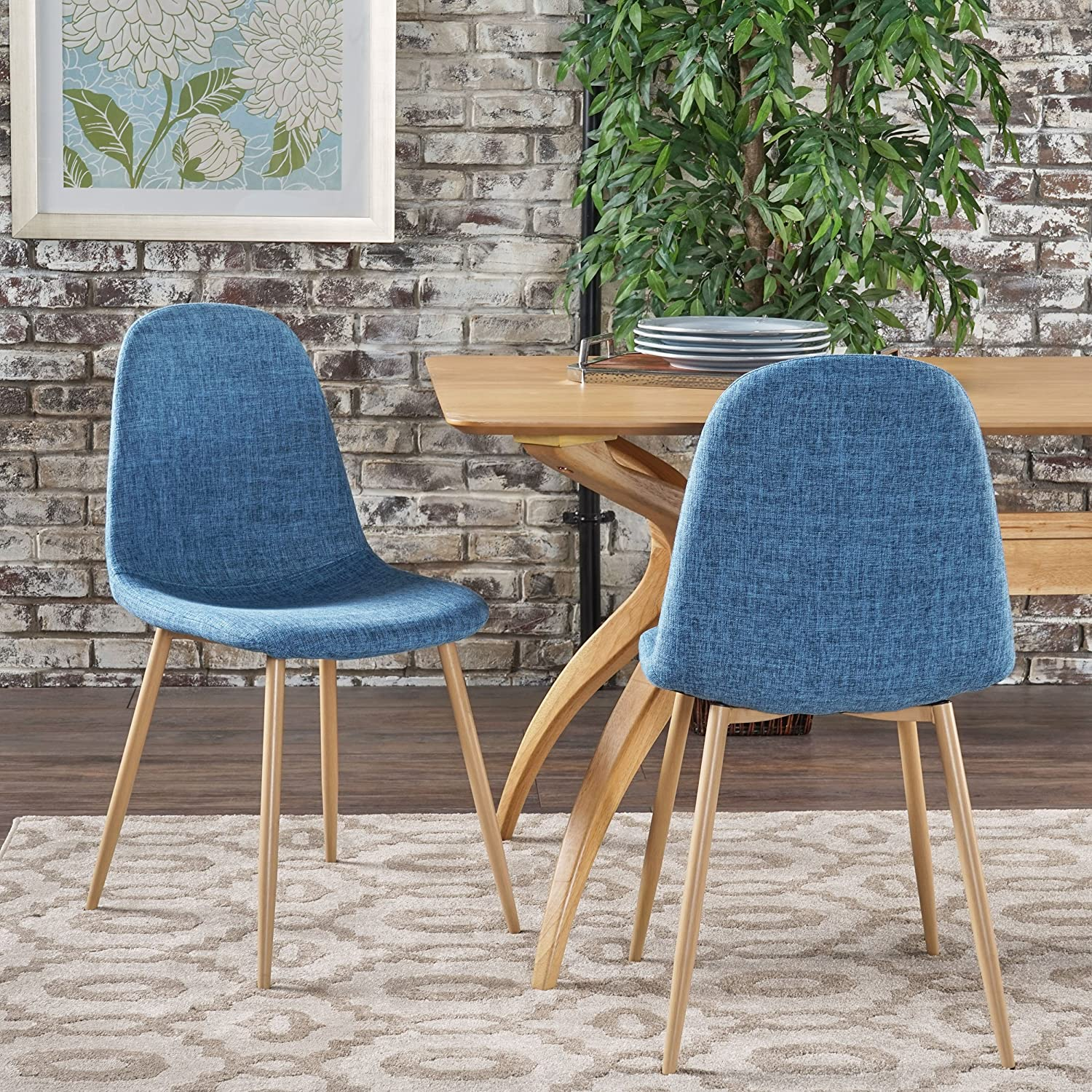 Christopher Knight Home Raina Mid Century Modern Dining Chairs With Wood Finished Metal Legs Set of 2 , Muted Blue Light Brown