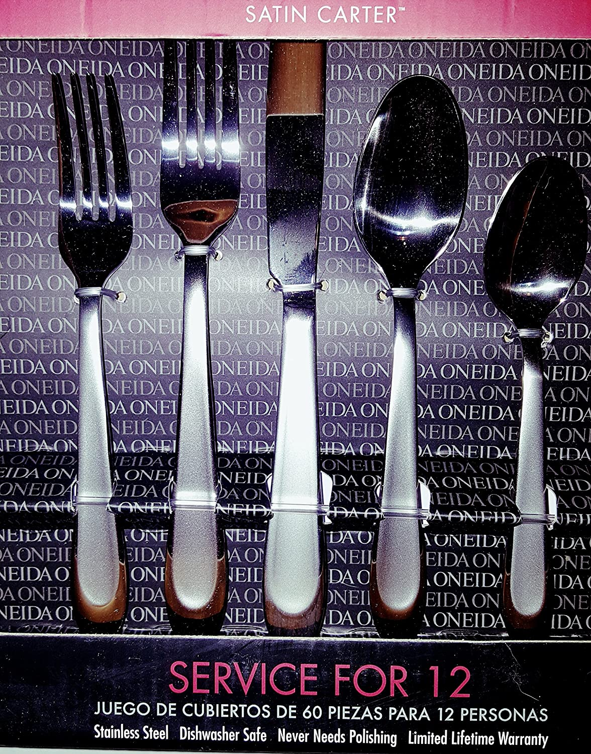Amazon.com | Oneida 60-Piece Flatware Set Service for 12 (Satin Carter): Flatware Sets
