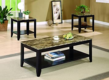 Coaster 3pc Coffee Table End Table Set Faux Marble Top Espresso Finish