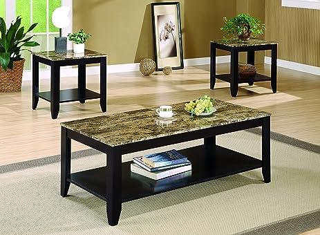 Amazon.com: Coaster 3pc Coffee Table & End Table Set Faux Marble ...
