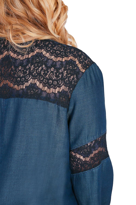 Standards /& Practices Plus Size Womens V-Neck Long Sleeved Tencel Denim Dress